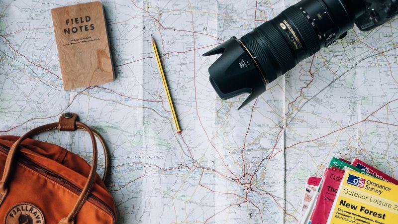 Camera, Passport, Bag, bucket list